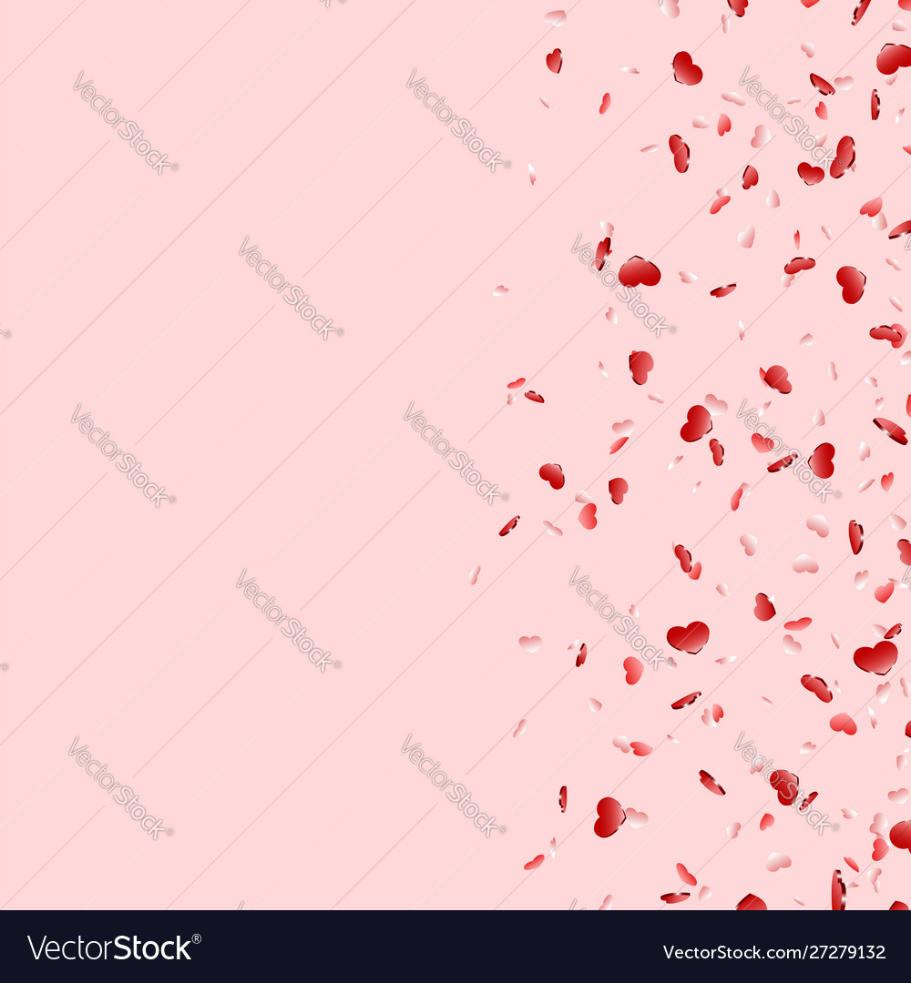Heart falling confetti isolated pink background