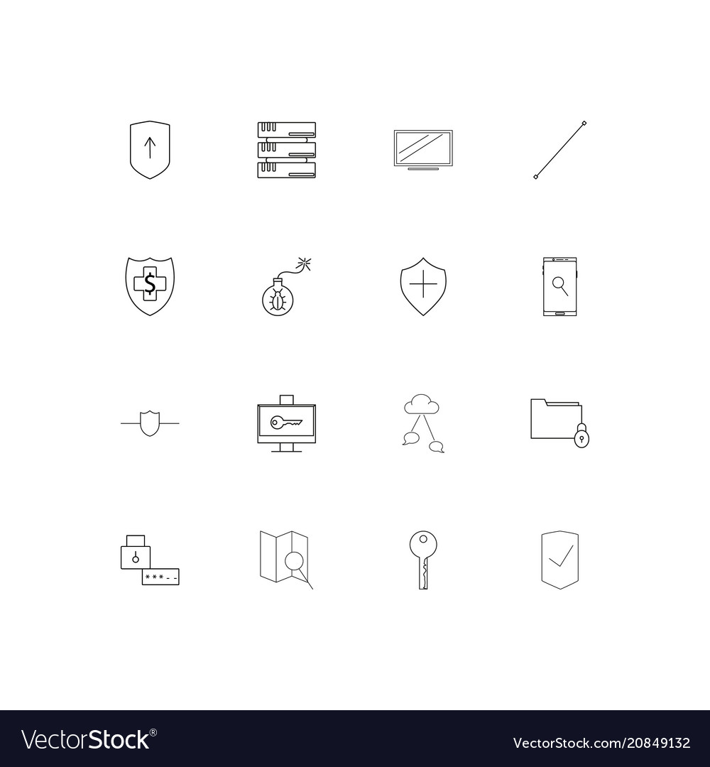 Internet security linear thin icons set outlined