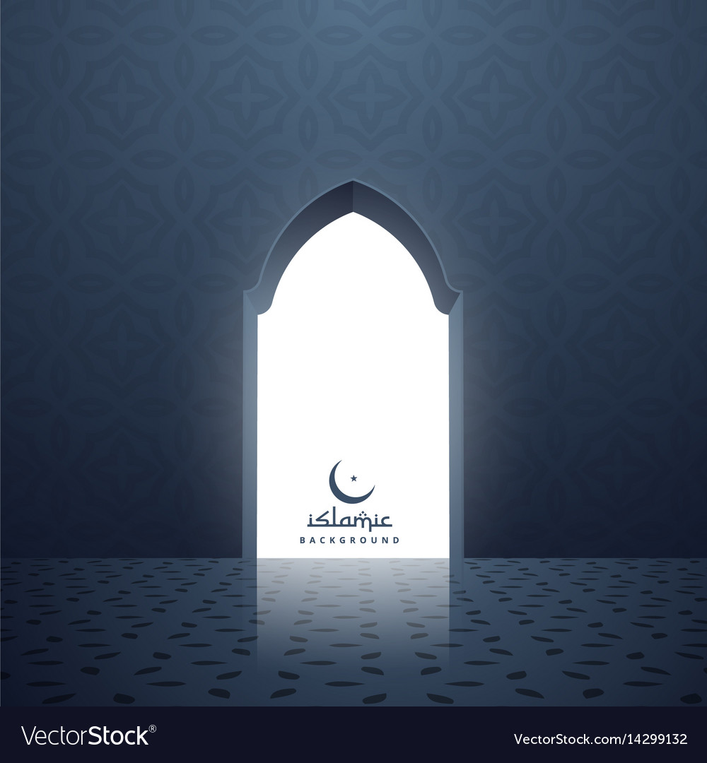 & Mosque door with white light coming inside Vector Image