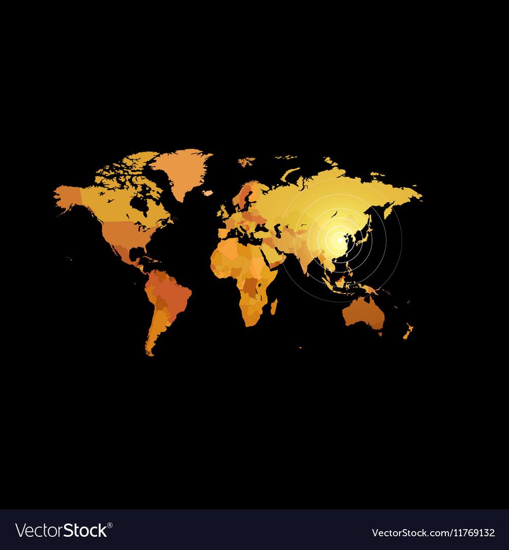 Orange color world map on black background Globe vector image
