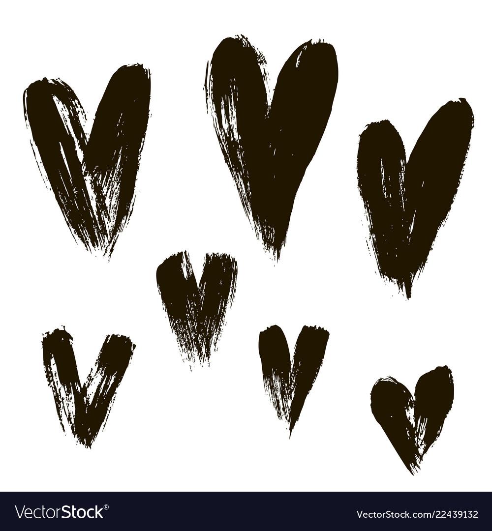 Set hearts ink brush