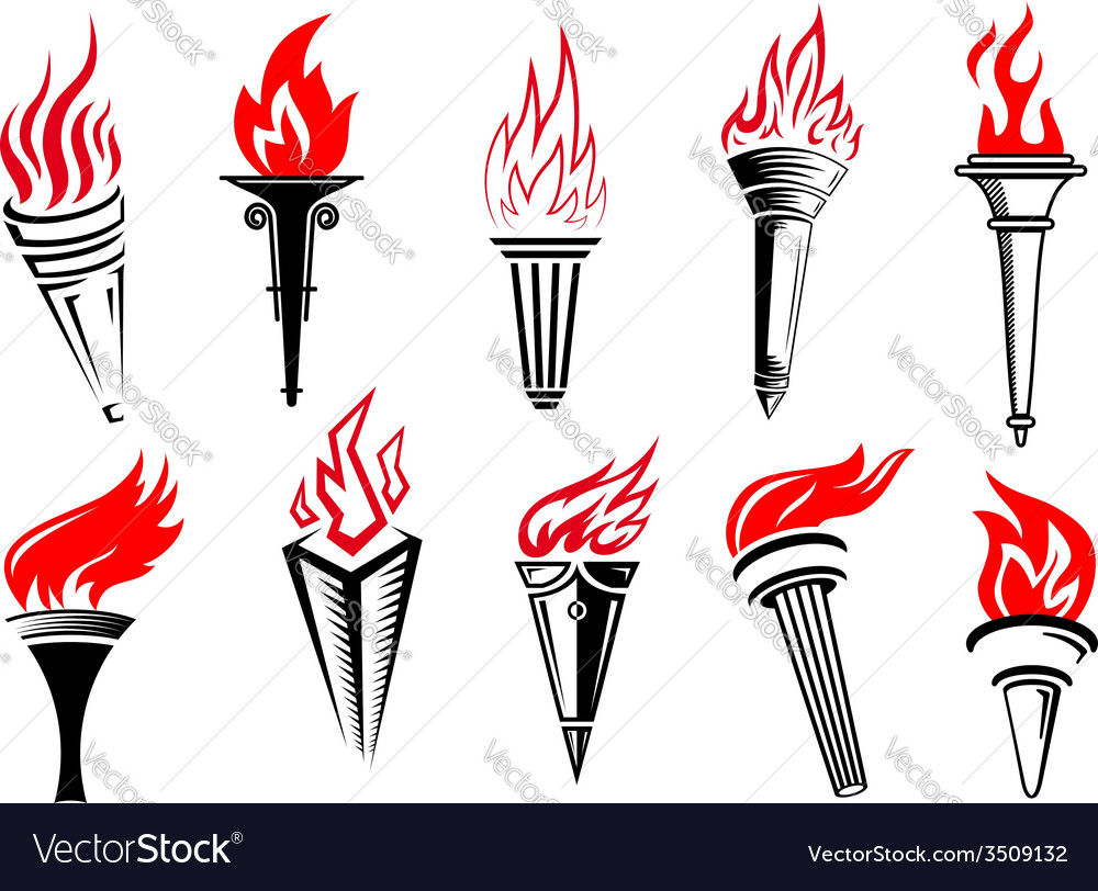 Torches with red flame icon set vector image