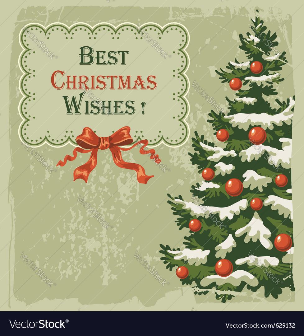 Vintage Christmas Card Vector Image On Vectorstock