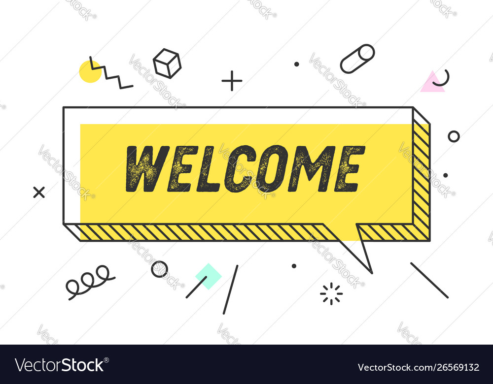 Welcome banner speech bubble poster concept