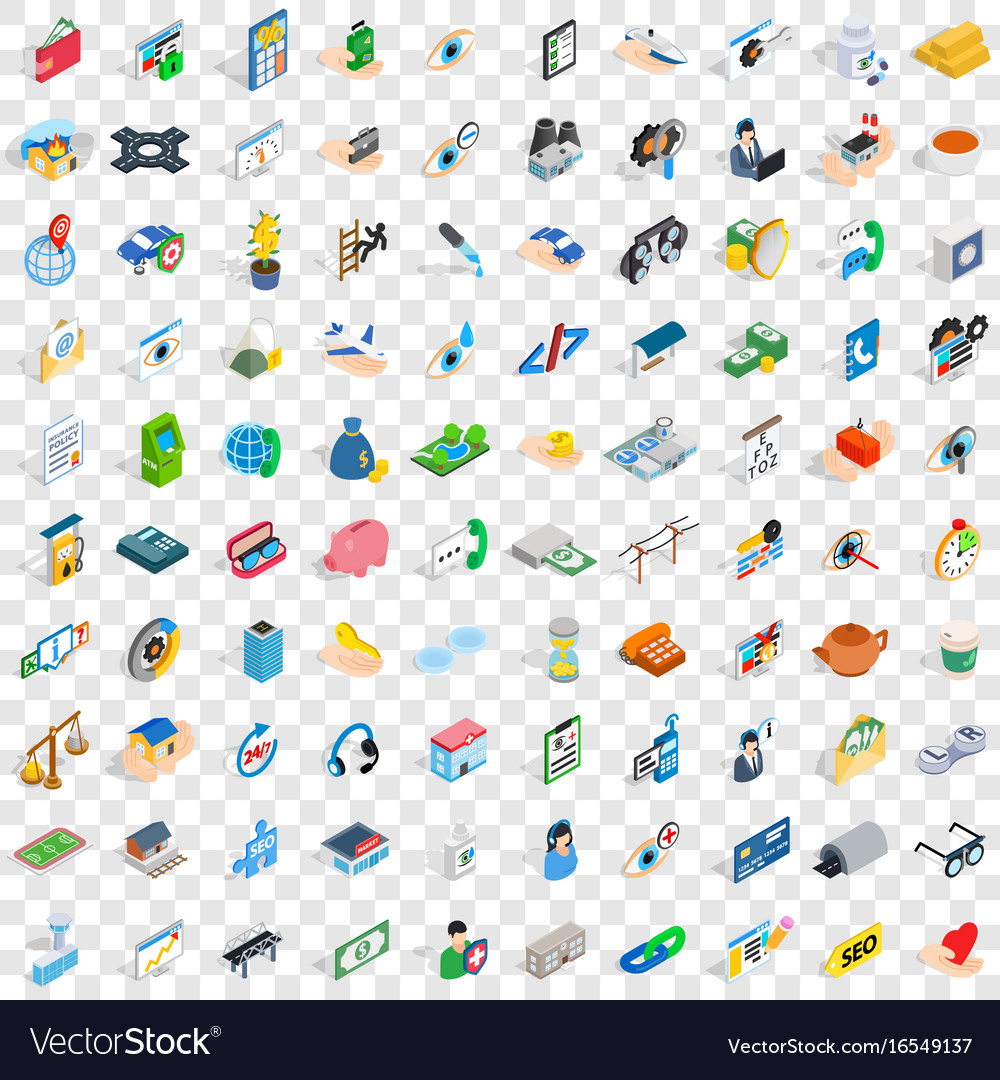 100 doctor icons set isometric 3d style