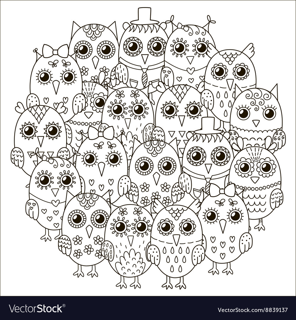 Circle shape pattern with cute owls