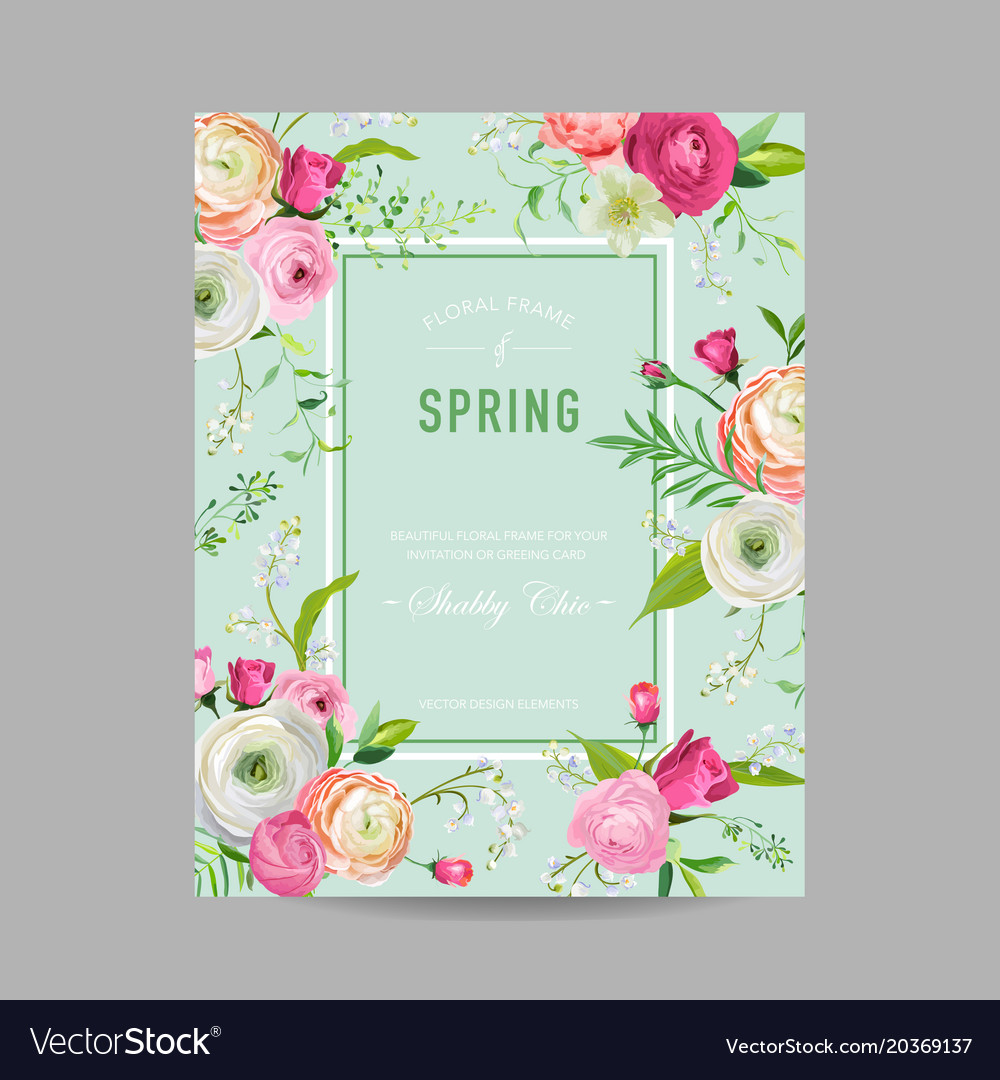 Floral spring design template wedding invitation vector image stopboris Images