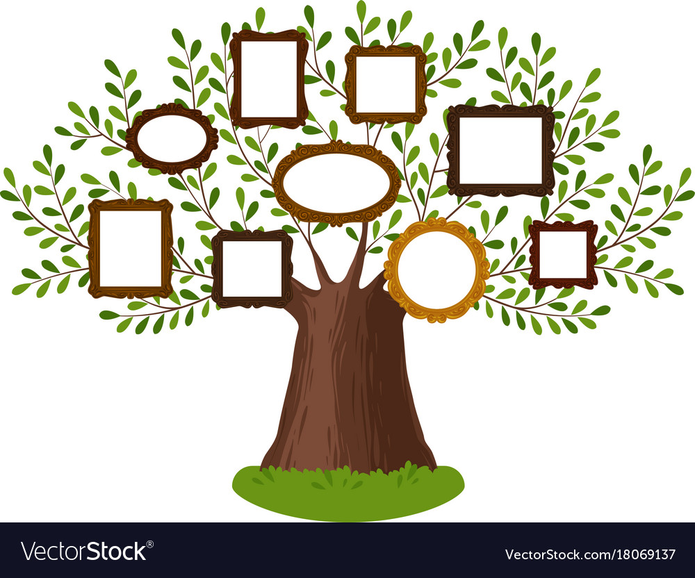Genealogical family tree with picture frames