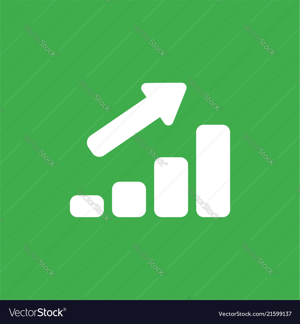 Icon concept of sales bar graph moving up on