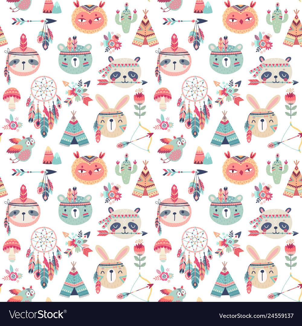 Seamless pattern with cute woodland boho tribal