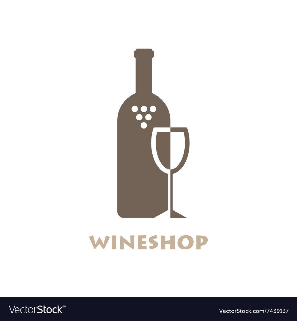 Wine Shop Or Bar Logo Negative Space Style