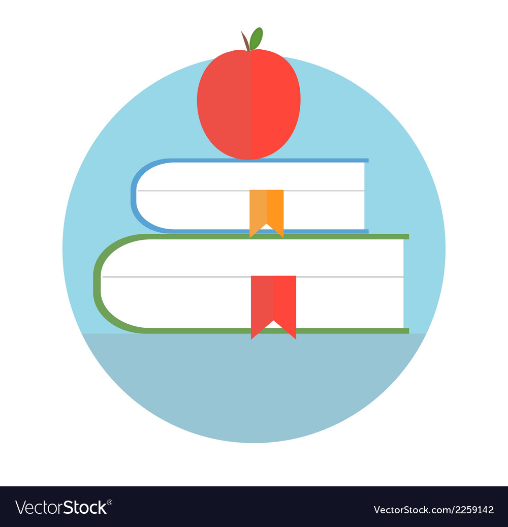 Books with apple Education concept