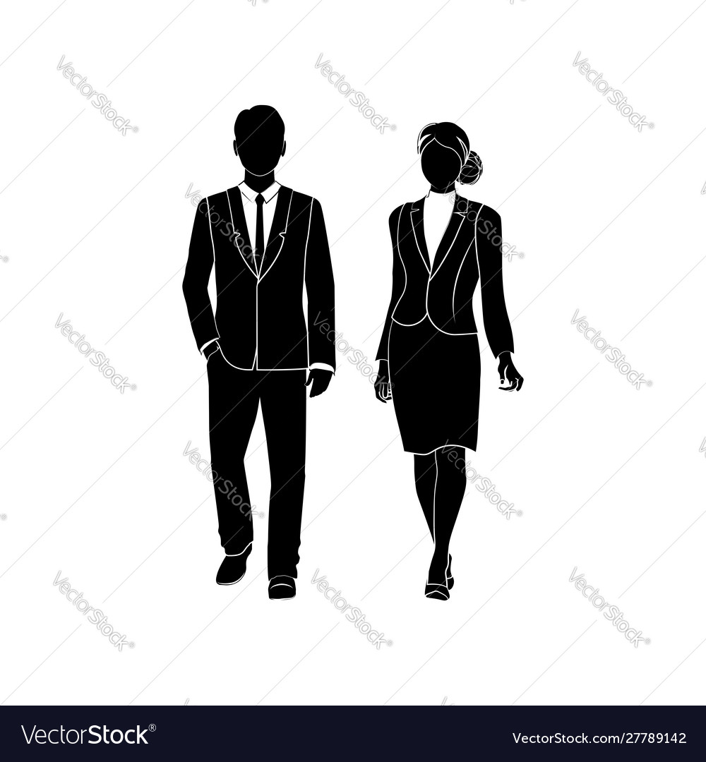 businessman manager and business women walk vector image businessman manager and business women walk vector image