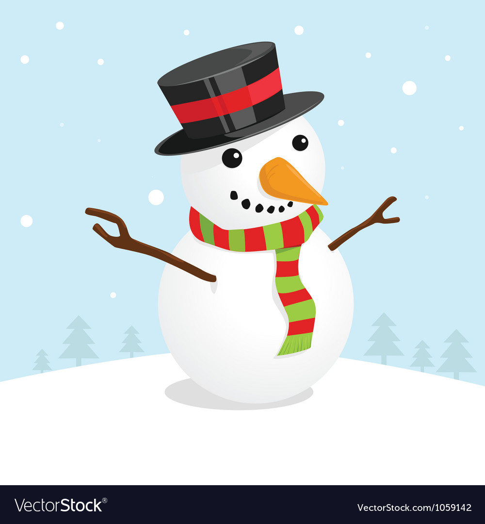 christmas card with a cute snowman royalty free vector image