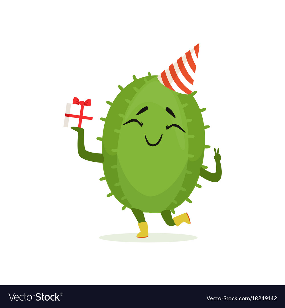Cute cactus in a party hat holding gift box funny vector image