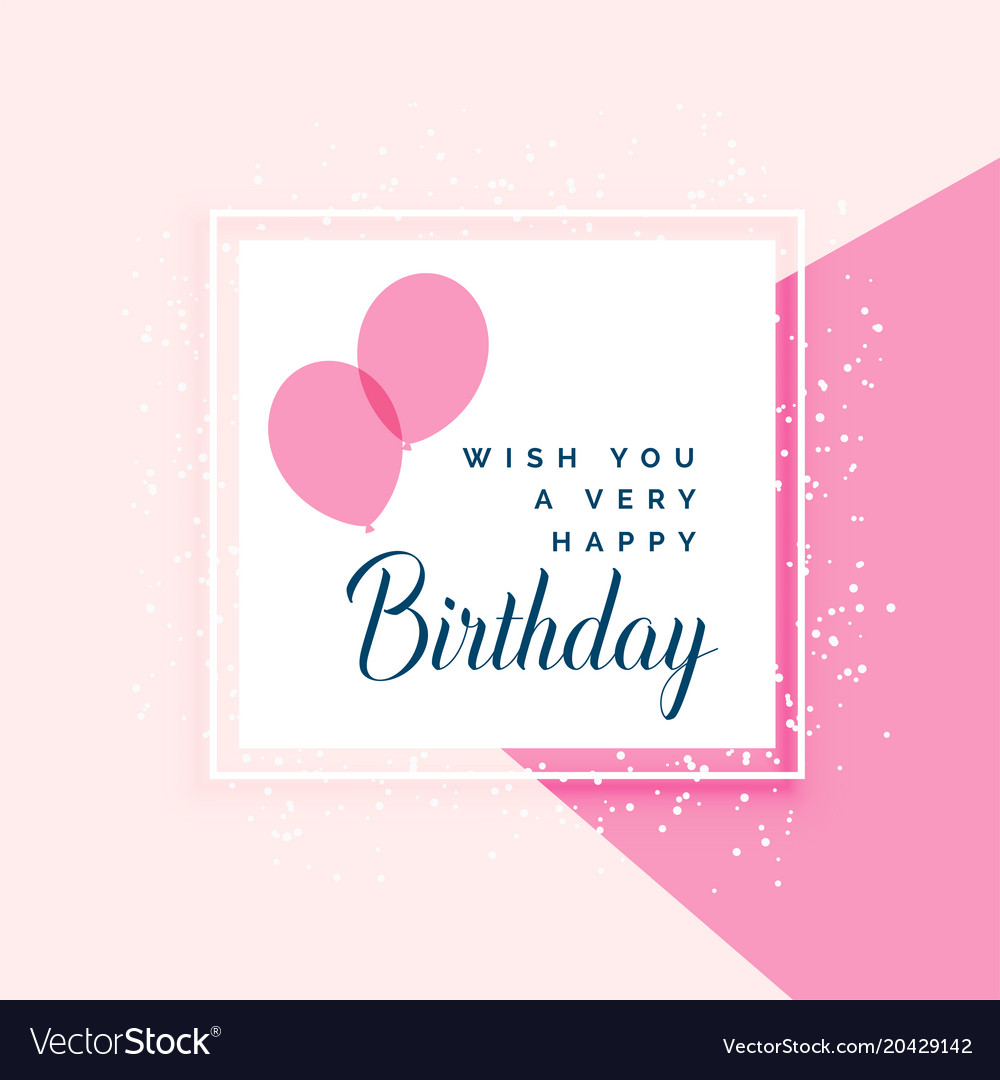 Elegant Pink Happy Birthday Greeting Design Vector Image