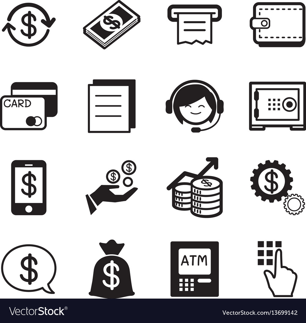 Finance amp banking icons credit card atm
