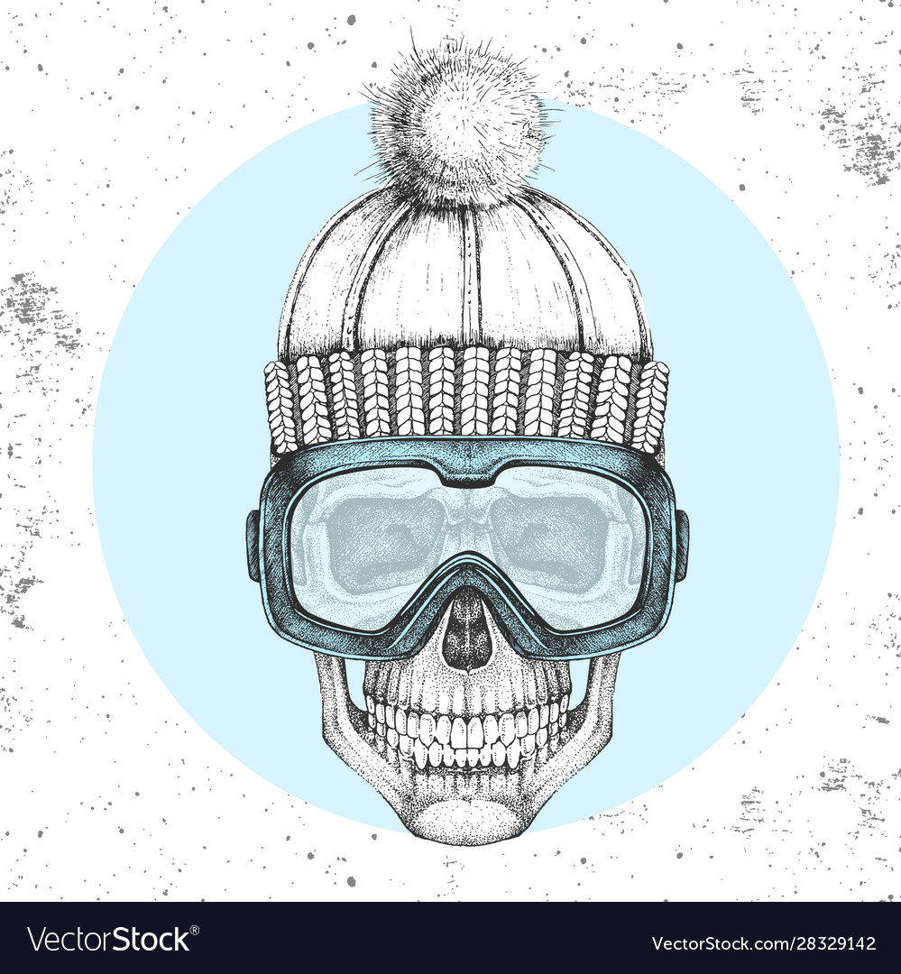 Hand drawing hipster skull in winter hat