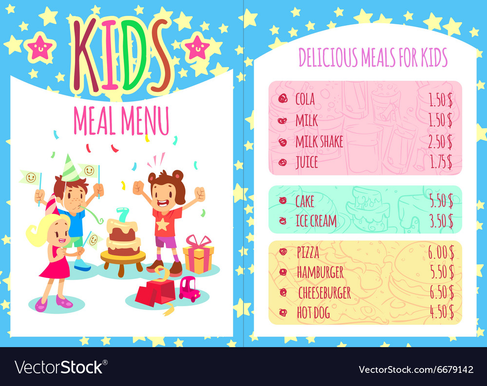 Kids meal menu template brochure
