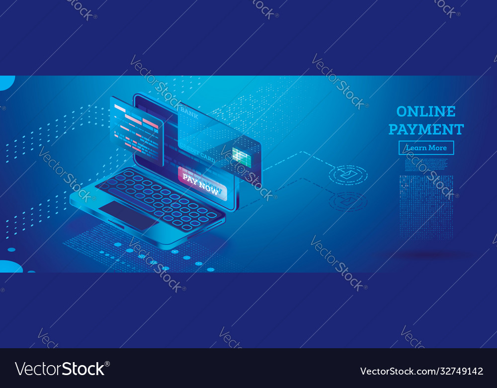 Online payment with notebook isometric concept
