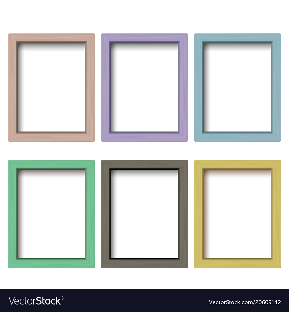Set of colorful wooden frames wooden square Vector Image