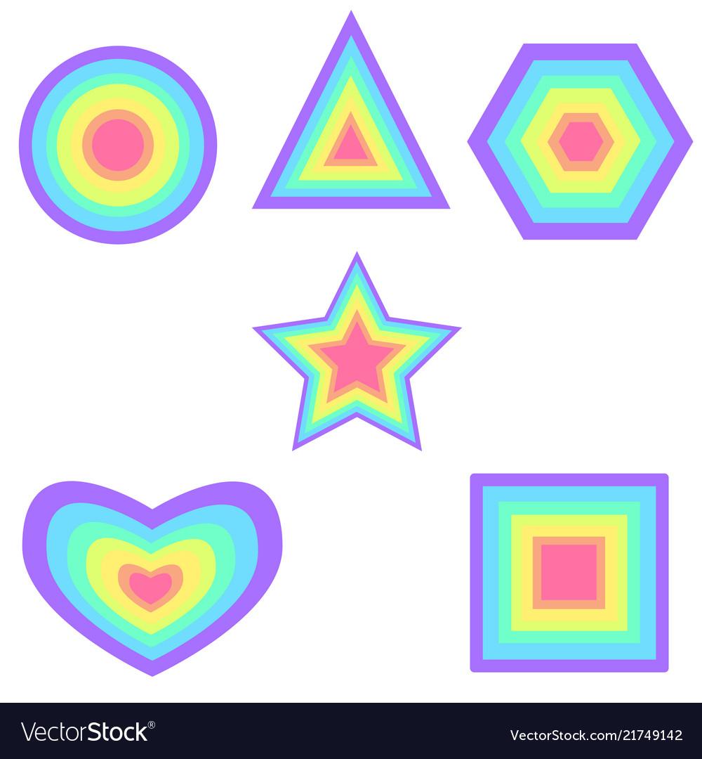 Set rainbow pastel color graphics figure