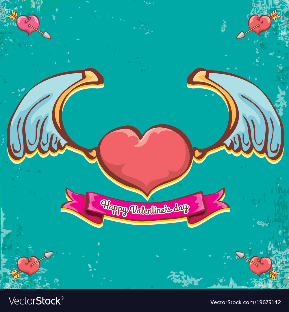 Valentines Day Vintage Cartoon Tattoo Style Vector Image