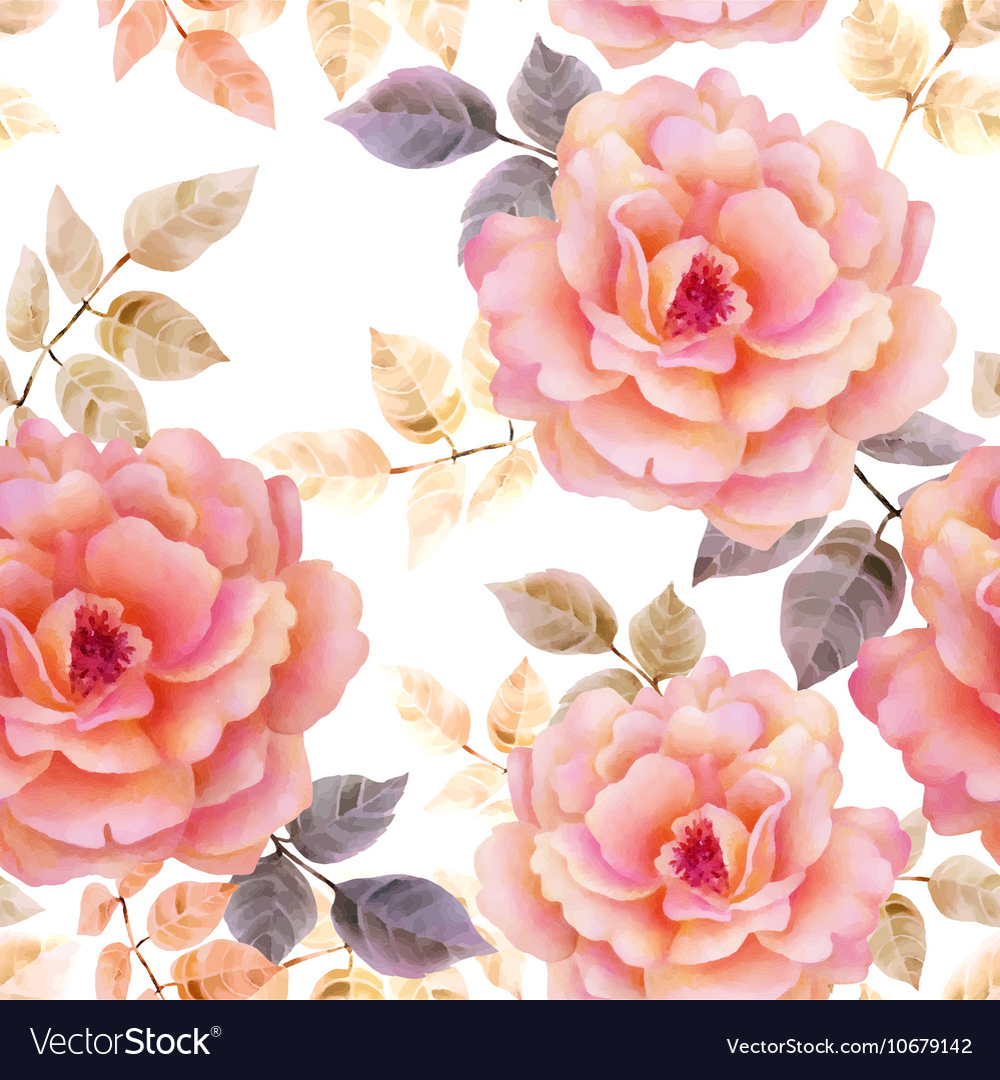 Watercolor seamless roses pattern