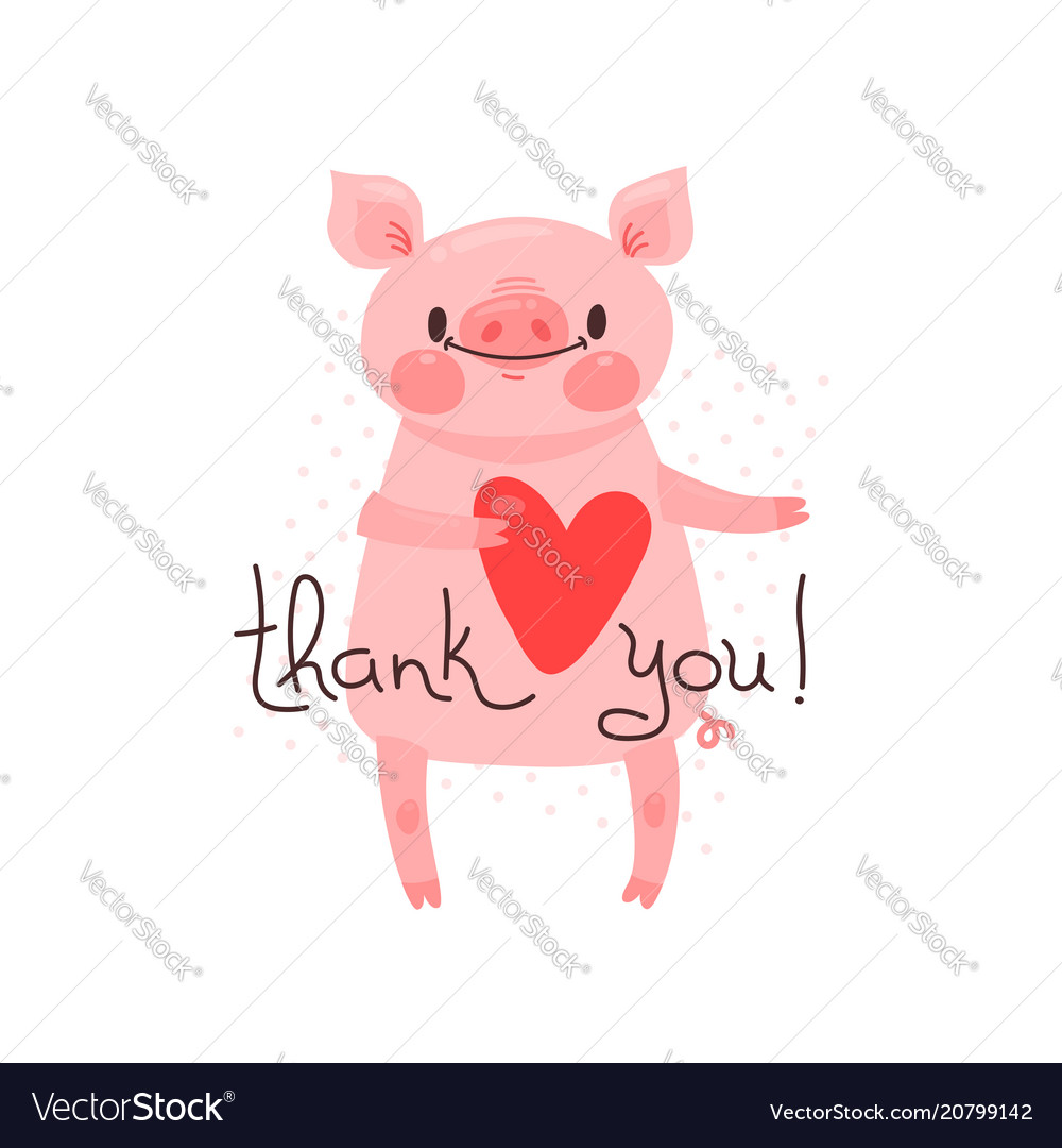 With joyful piggy who says - thank