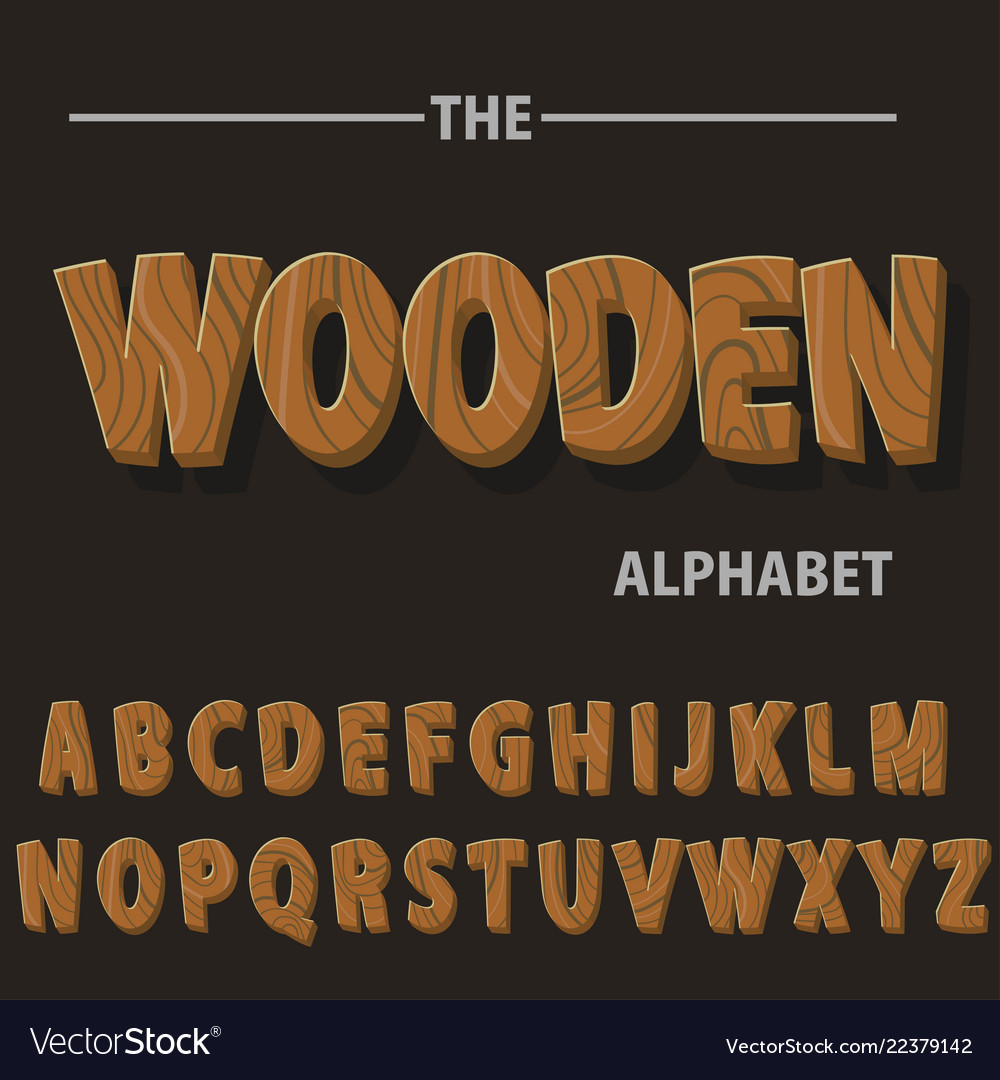 Wooden alphabet wood retro font letters for text
