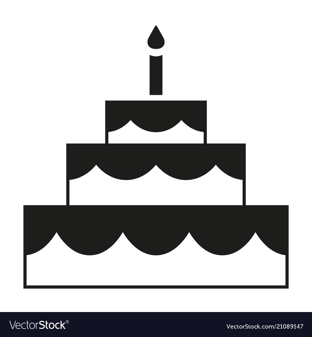 Black and white birthday cake silhouette