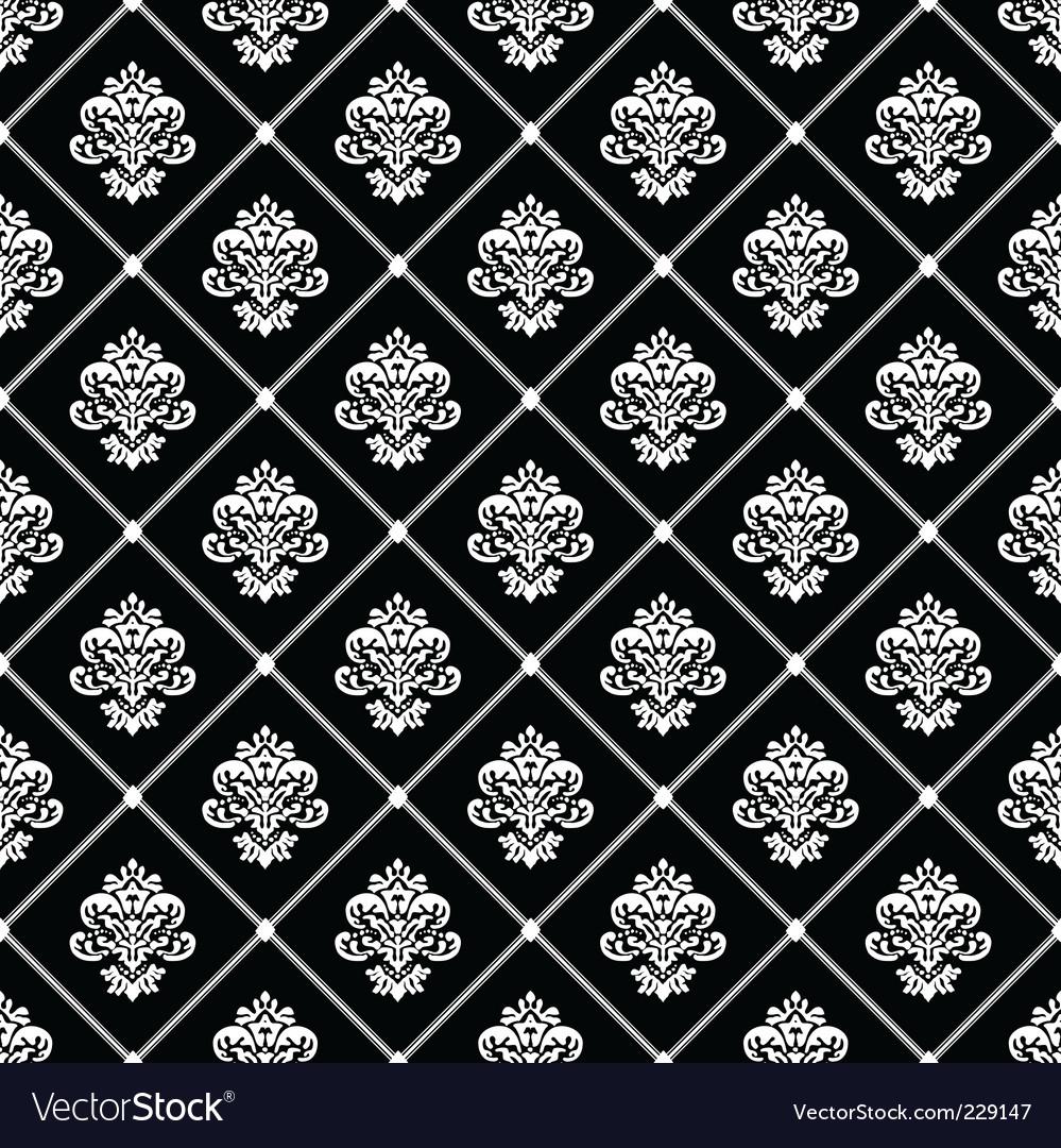 Black diagonal floral pattern
