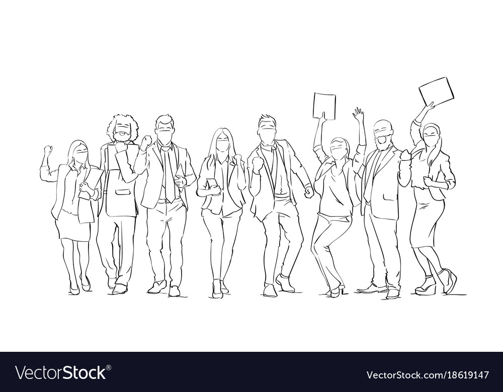 Cheerful silhouette business people group sketch