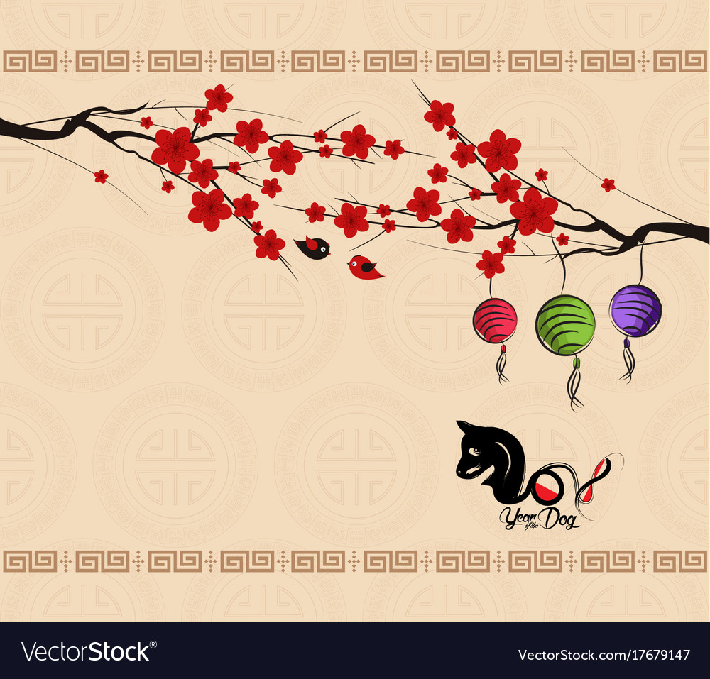 chinese new year 2018 background with dog year of vector image