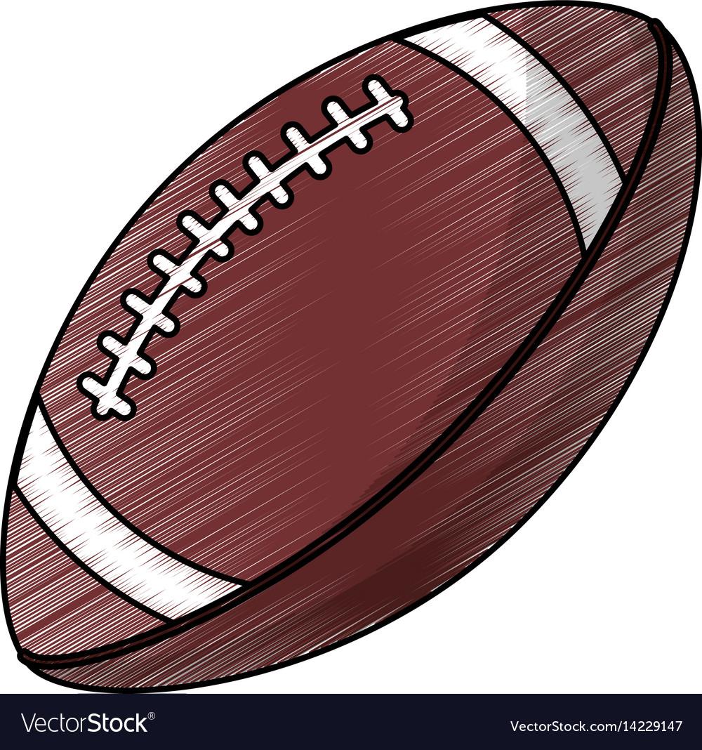 Drawing Amerian Football Ball Equipment Royalty Free Vector