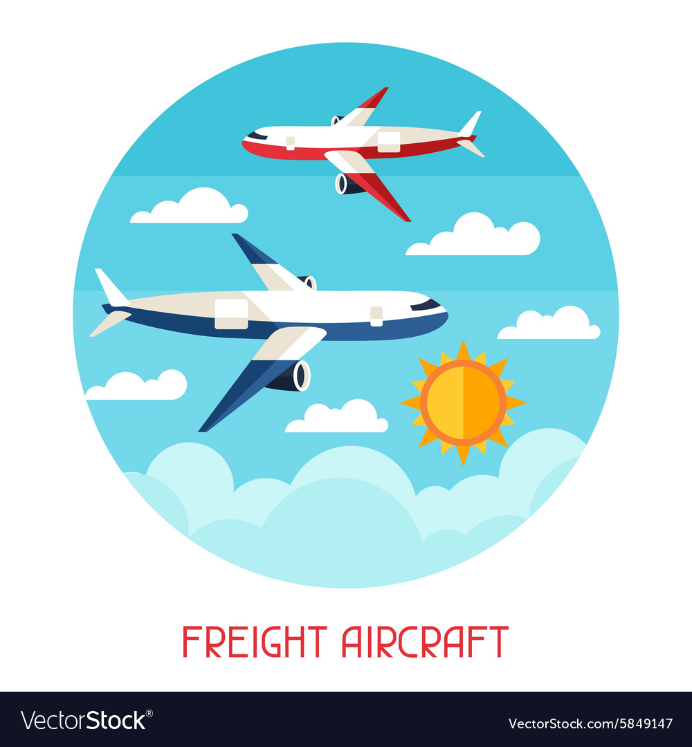 Freight aircraft transport background in flat