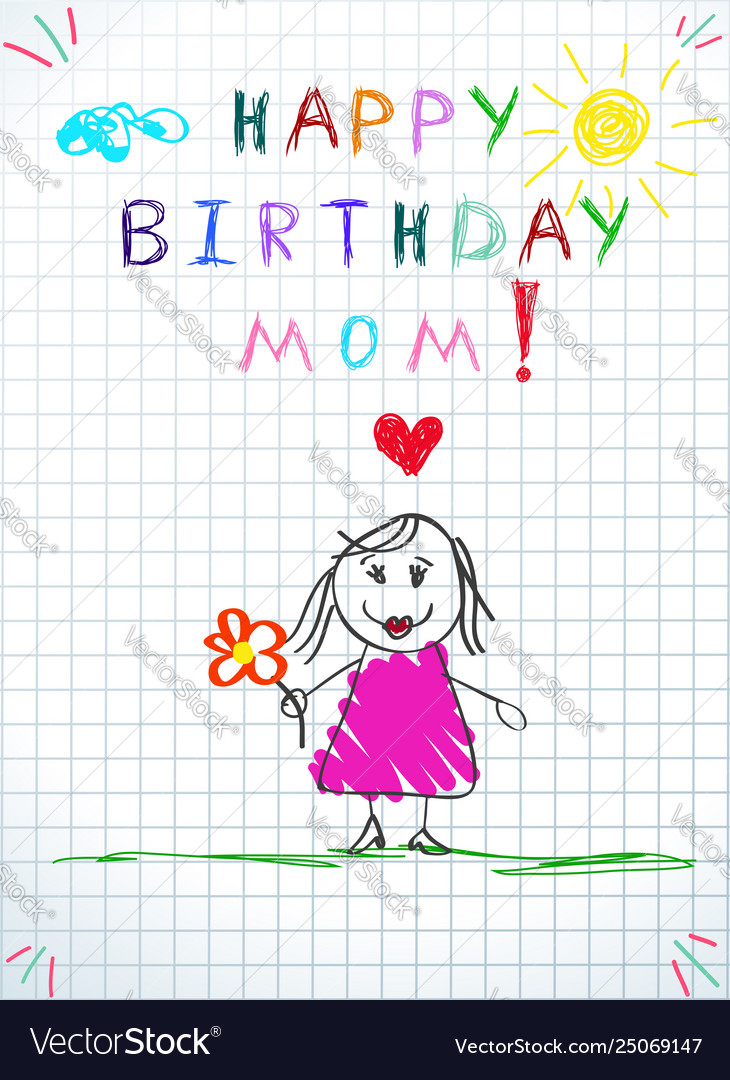 Miraculous Happy Birthday Mom Greeting Card Badrawing Vector Image Personalised Birthday Cards Veneteletsinfo