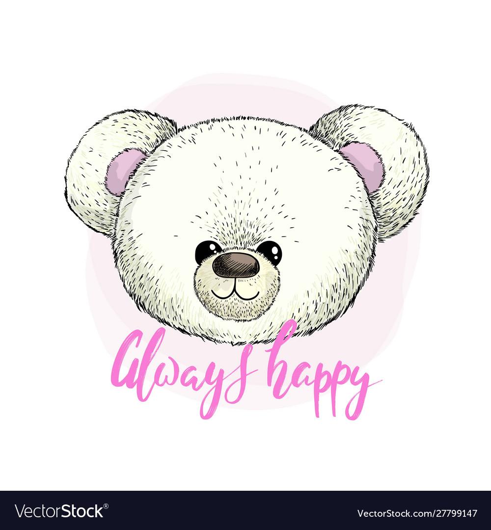 Head white plush teddy bear image