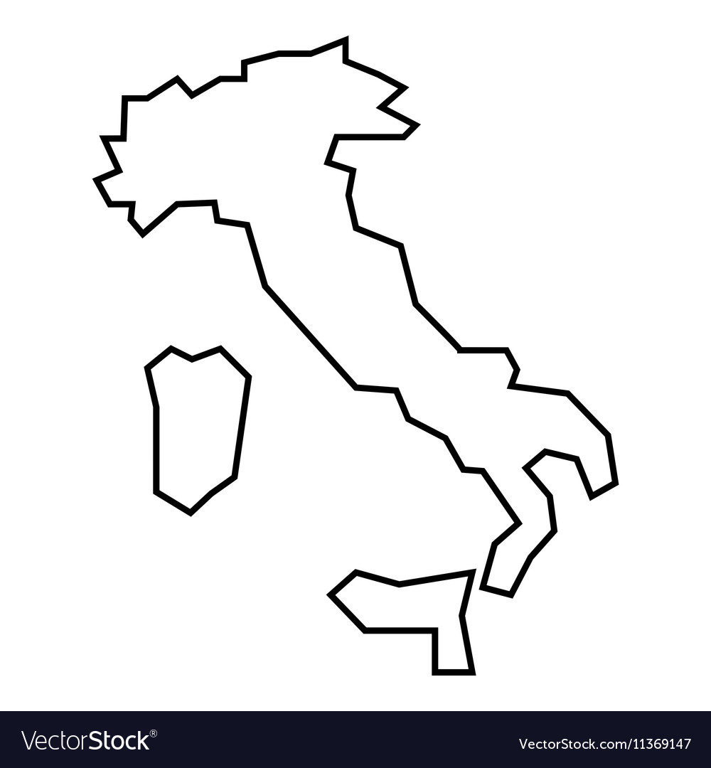 Map of Italy icon outline style Royalty Free Vector Image