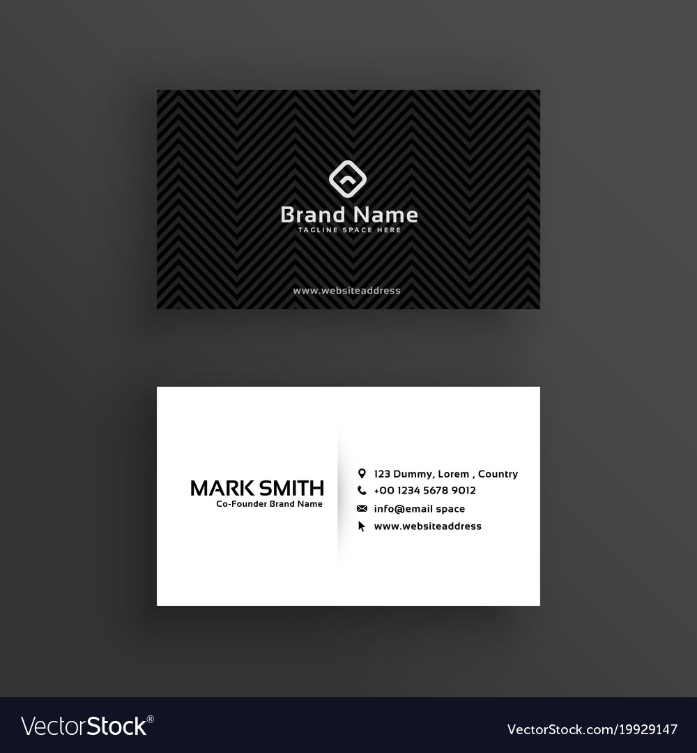 Minimal dark business card design template vector image colourmoves