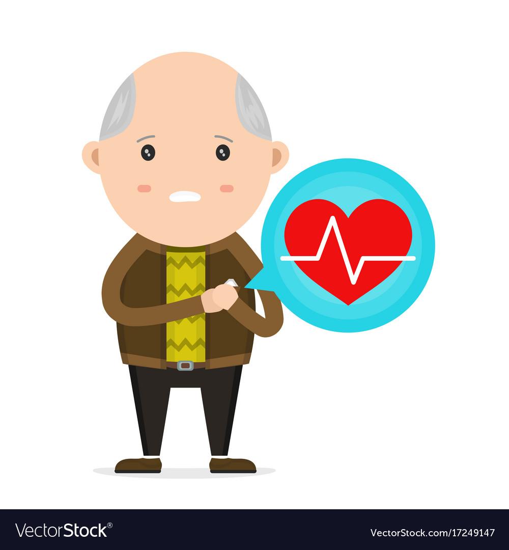 Old man having heart attack vector image