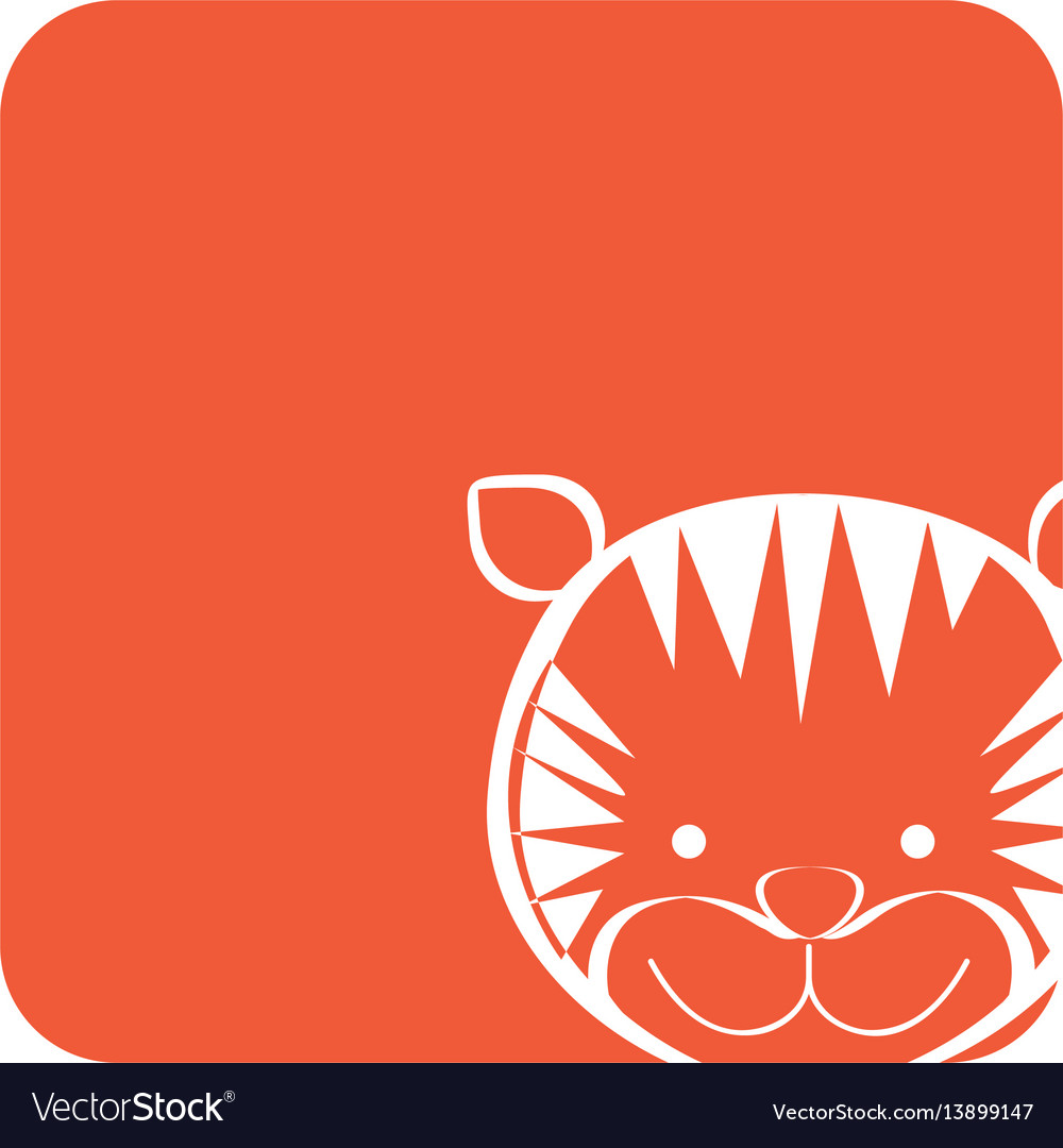 Orange square picture of tiger animal vector image