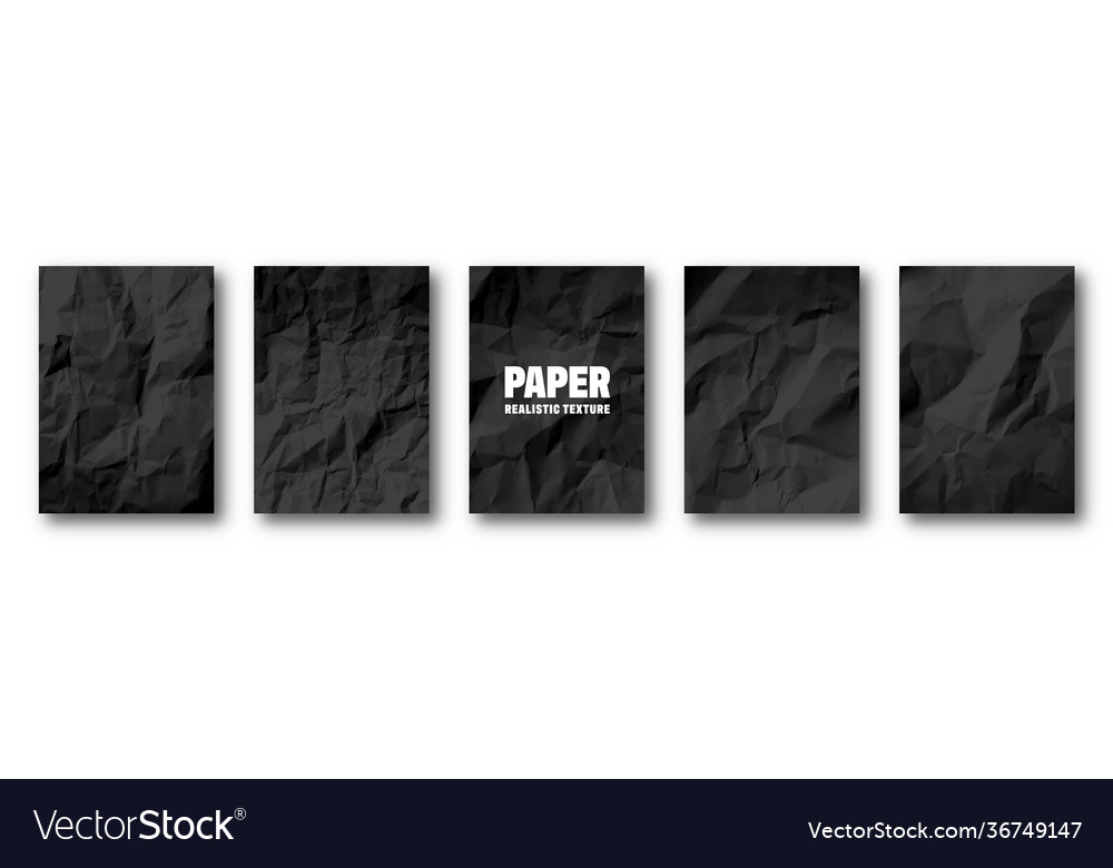 Realistic black crumpled paper texture isolated