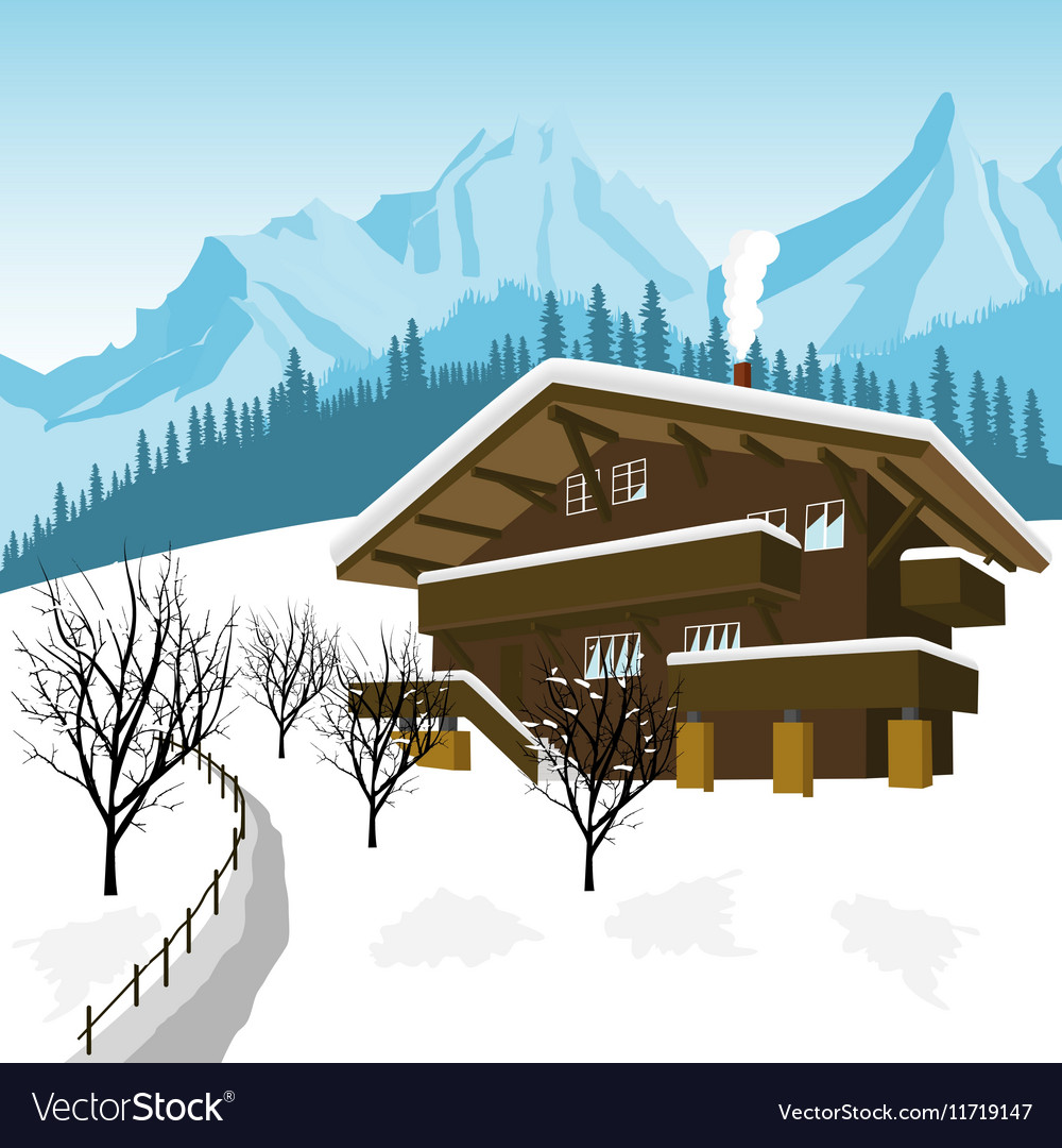 Traditional alpine chalet in the mountains of Alps vector image
