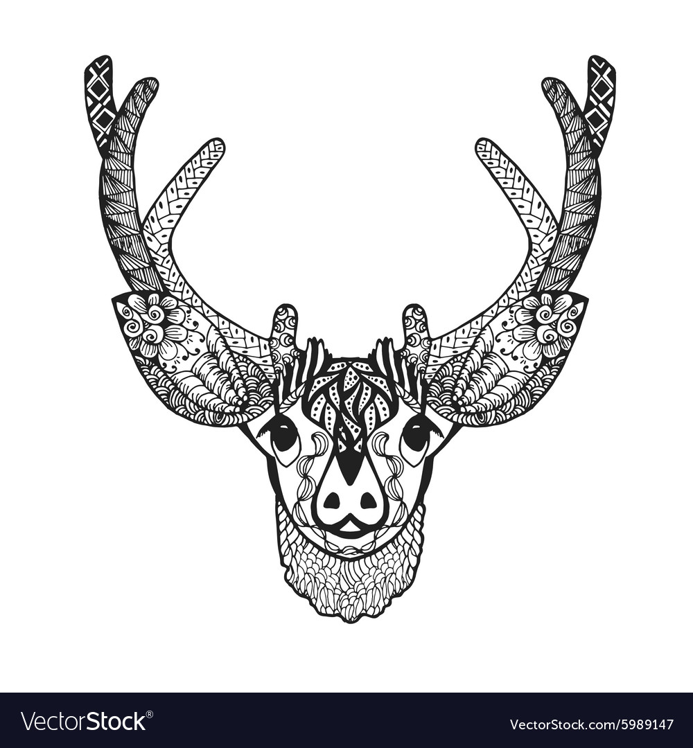 Zentangle stylized baby deer Sketch for tattoo or