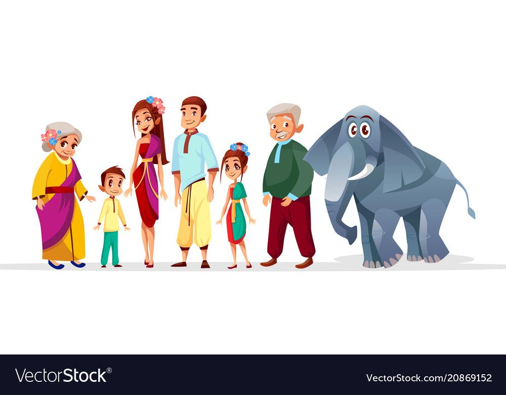 Cartoon thai family asian characters set vector image