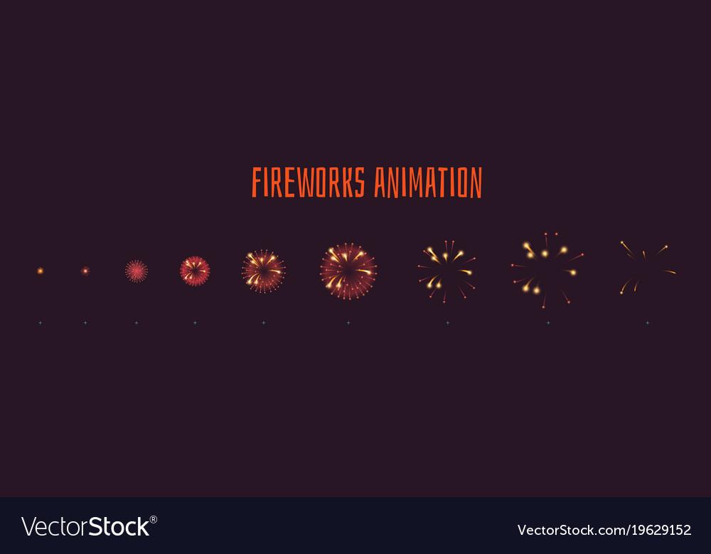 Fireworks explode effect burst sprites vector image