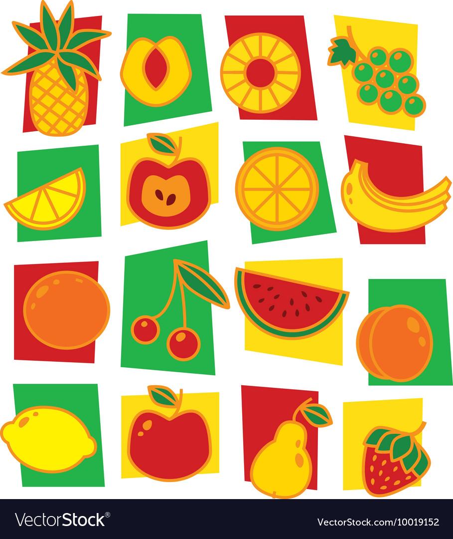 Fruits icons isolated on white background