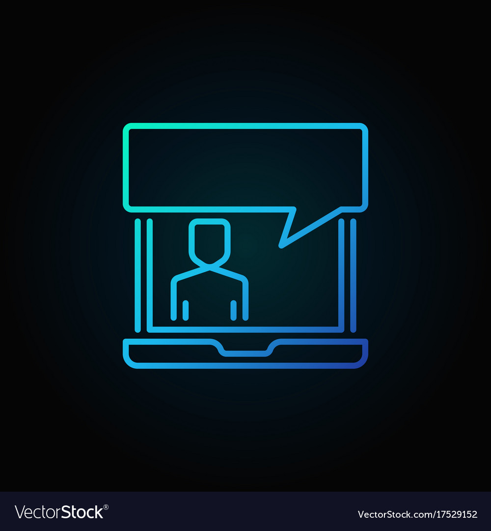 Laptop with speech bubble blue icon online