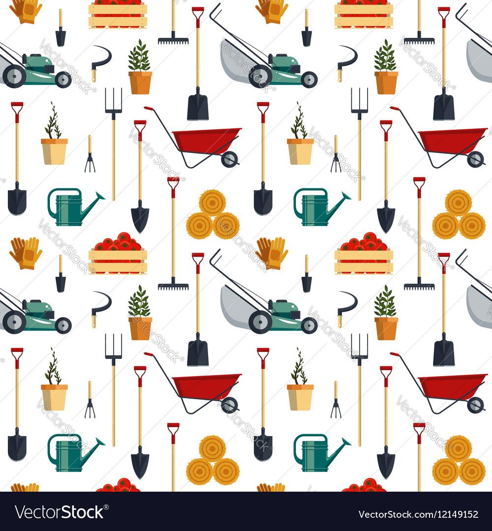Seamless pattern farm tools flat